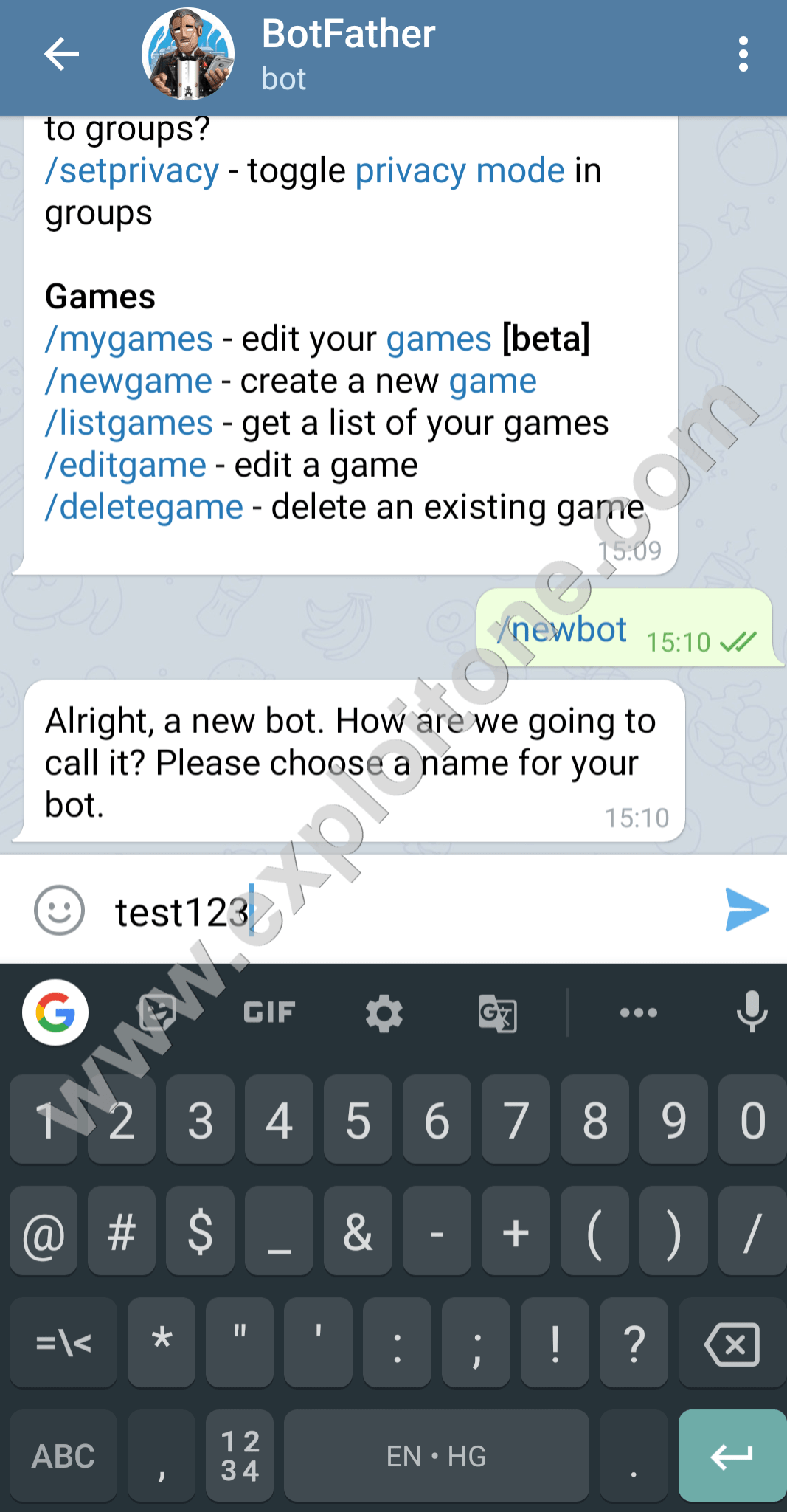 choose a name for your bot