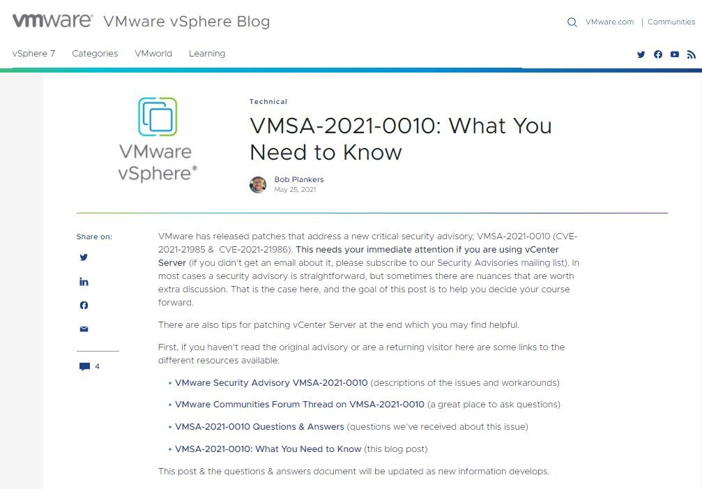 Critical vulnerability in VMware products; update affected systems before potential ransomware campaign