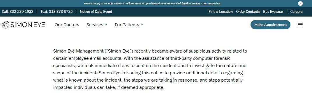 Simon Eye, a US optometry clinic chain, was hacked via employee email compromise. Data of 144,000 individuals leaked